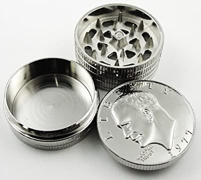 1 X Silver Dollar Herb Grinder With Pollen Catcher #3 from BeWild