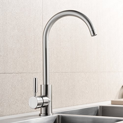 Why Should You Buy UFAUCET Contemporary High-arch Gooseneck Stainless Steel 360 Degree Swivel Spout ...