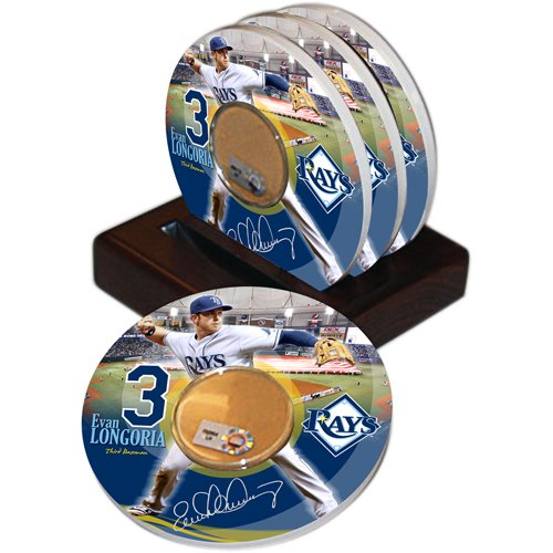 Mlb Tampa Bay Devil Rays Steiner Sports Evan Longoria Player Coaster W/ Game Used Dirt (Set Of 4) front-60791