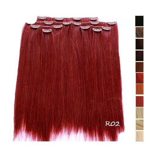 Prettyland K170 -7 pezzi Clip-in Extension 50cm pezzo capelli lisci set di dei capelli - R02 RED