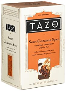 Tazo Sweet Cinnamon Spice Herbal Infusion Tea, Caffeine Free, 20-Count Tea Bags (Pack of 6)