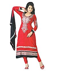 Sabrang Red Embroidered Pure Georgette Semi Stitched A Line Salwar Suit