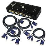 4-Port USB 2.0 KVM Switch w/4 KVM Cab...