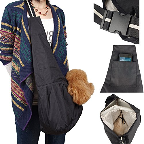 3 Sizes S/M/L Canvas Sling Pet Dog Puppy Cat Carrier Tote Slingle Shoulder Bag. (Large, Black)