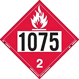 Labelmaster ZRV81075 UN 1075 Flammable Gas Placard, Rigid Vinyl (Pack of 25)
