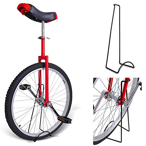 20-Inches-Wheel-Skid-Proof-Tread-Pattern-Unicycle-W-Stand-Uni-Cycle-Bike-Cycling-RED