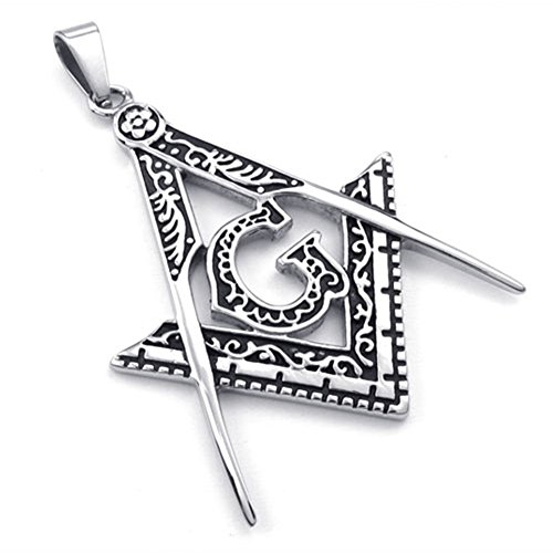 TEMEGO Jewelry Mens Stainless Steel Pendant Vintage Freemason Masonic Necklace, Black Silver by TEMEGO