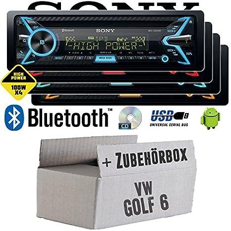 VW Golf 6 VI - Sony MEX-XB100BT - Bluetooth | CD | MP3 | USB | 4x100 Watt Autoradio - Einbauset