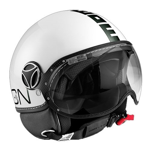 CASCO JET MOMO DESIGN FIGHTER CLASSIC (M, BIANCO LUCIDO NERO (DECALCO))