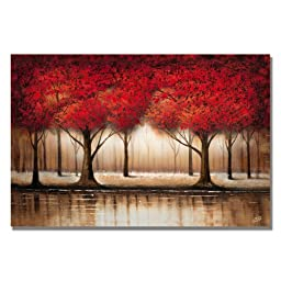 Trademark Fine Art Parade of Red Trees by Master\'s Art Canvas Wall Art, 35x47-Inch