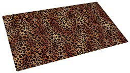 Drymate 12-Inch by 20-Inch Pet Bowl Place Mat with Leopard Imprint Design, Small/Medium