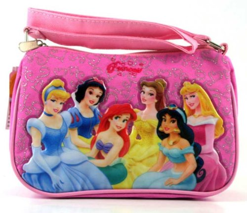 Disney Princess Purse Handbag – Featuring Belle, Jasmine, Snow White and Ariel; Great Gift Idea For Girls (Kids and Children's Tote Hand Bag)