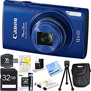 "PowerShot ELPH 170 IS 20MP 12x Opt Zoom Digital Camera - Blue 32 GB Bundle - Includes Camera, 32GB SD Memory Card, USB Card Reader, Battery, Deluxe Carrying Case, 5"" Flexible Mini Tripod, Lens Cleaning Kit, and 1 Piece Microfiber Cleaning Cloth"