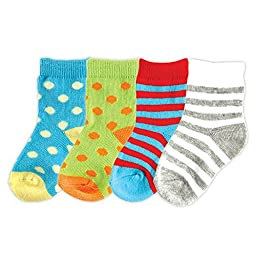 4-Pack Colorful Socks, Teal, 18-36 months
