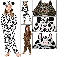 Girls Hooded Animal Print Fleece Onesie Sleepsuit Pyjamas With Ears. White/Black Cow Print, White/Black Dalmation Print, Beige/Brown Leopard Print Sizes 7-8 9-10 11-12 13 yrs
