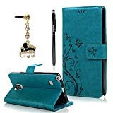 Note 4 Case,Samsung Galaxy Note 4 Case - BADALink Fashion Wallet Premium Leather with Embossed Flowers Butterfly Flip Cover with Hand Strap Card Holders & Cute Elephant Dust Plug & Stylus Pen - Blue