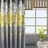 S-ZONE Long Designer Yellow and Gray Shower Curtains with 12 Hooks For Bathroom 72x78 Inch