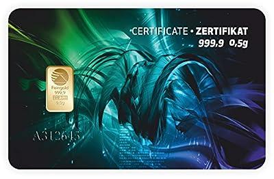 Goldbarren Geschenkkarte 0,5 g 0,5g Gramm Feingold 999.9 Nadir Gold Modern Art