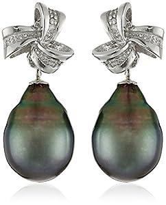Sterling Silver 9-9.5mm Tahitian Cultured Black Pearl and Diamond Ribbon Dangle Earrings
