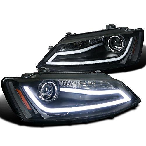 Spec-D Tuning 2LHP-JET11JM-TM VW Jetta MK6 Euro Black Projector Headlights+LED DRL Light Bar (2011 Jetta Headlight Assembly compare prices)