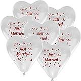 10 Herzballons Hochzeit WEIß mit Aufdruck 'Just Married' - Luftballons zur Hochzeit - Helium geeignete Ballons zum Luftballon steigen lassen