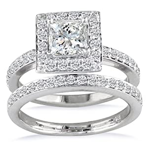 1/2ct Pave Princess Diamond Bridal Set in 14k White Gold (GH SI3)