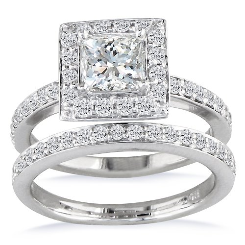 1/2ct Princess Diamond Bridal Ring Set in 14k White Gold (GH SI3 Sizes 4-9)