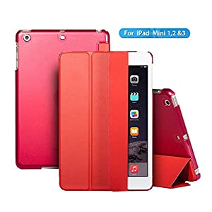 Ipad Mini Case / Ipad Case , the Thr - Fold Series Smart Cover + transparent Back Cover [Ultra Slim] [Light Weight] [Scratch-resistant Lining] [Perfect Fit] [Auto Wake Up/sleep Function] Ipad Mini Cover for Ipad Mini 3 & 2 & 1 Case (Red) from ACEGUARDER
