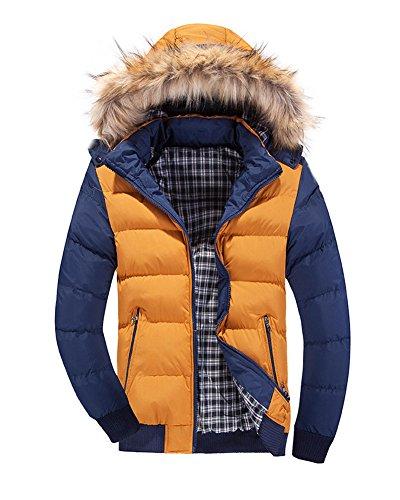 LaoZan Uomo Inverno Moda Giacca con cappuccio Slim Fit Cappotto invernale Parka XXL Giallo Blu