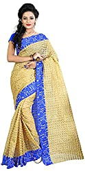 MADEII E-commerce Women's Cotton Saree with Blouse Piece (Blue)