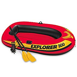 Intex Explorer 300, 3-Person Inflatable Boat Set with French Oars and High Output Air Pump