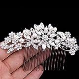 Clear Austrian Crystal Simulated Pearl Bridal Hair Comb Flower Leaves Rhinestone Wedding Hair Accessories