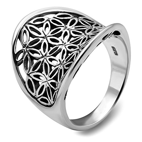 925 Sterling Silver Open Filigree Flower of Life Symbol Saddle Band Ring Size 7 - Nickel Free (Saddle Ring compare prices)