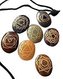 Healing Crystals India Reiki Chakra Stones with Engraved Chakra Symbols, Set of 7