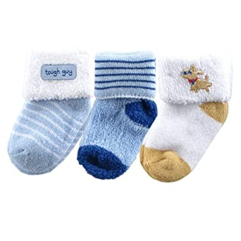 3-Pack Terry Socks, Blue Puppy