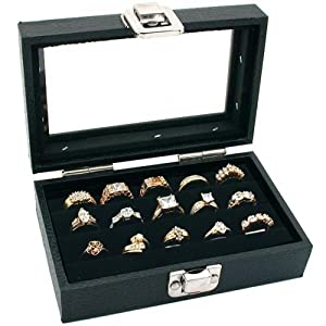 3 Row Ring Jewelry Display/Storage Glass Top Wood New