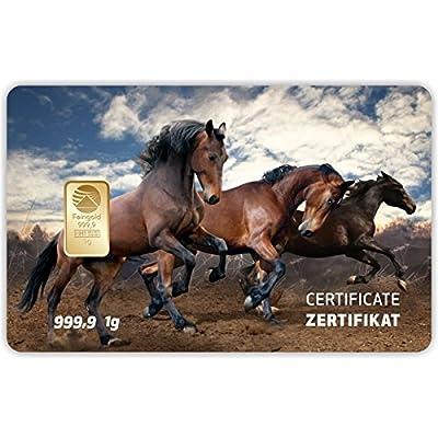 Goldbarren Geschenkkarte 0,5 g 0,5g Gramm Feingold 999.9 Nadir Gold Tier Pferd
