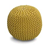 Yellow Knitted Pouffe Footstool - 100% Cotton