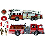 Firetrucks and firefighters Giant stickers - removable and repositionable Wall Decals Wall Art For Any Kids room