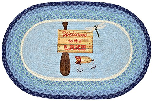 Earth Rugs 65-378WL Welcome to The Lake Oval Design Rug, 20 by 30