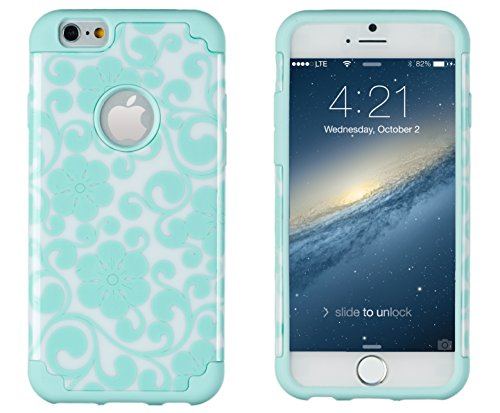 """Iphone 6, Dandycase 2In1 Hybrid High Impact Hard Sea Green Flower Pattern + Silicone Case Cover For Apple Iphone 6 (4.7"""" Screen) + Dandycase Screen Cleaner"""
