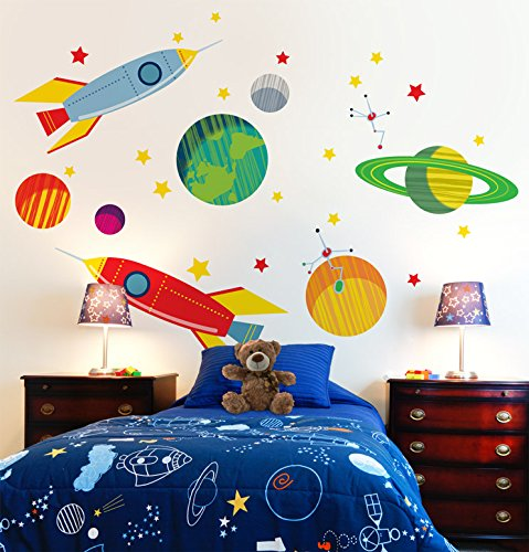 "Oopsy Daisy Galactic Travels Peel and Place, Green/Orange, 54"" x 45"""