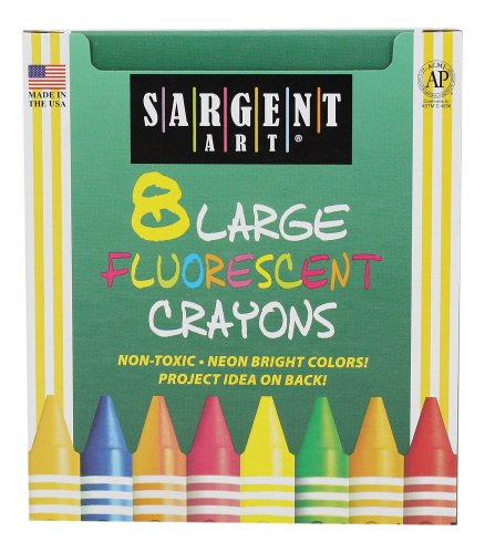 Sargent Art 22-0551 8-Large Crayons, Tuck Box and Fluorescent