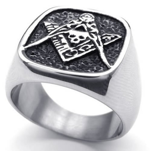 Konov Jewelry Vintage Stainless Steel Band Freemason Masonic Ring, Color Black Silver - Size 8