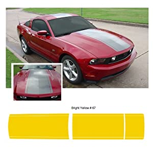 Ford Mustang 2010 to 2012 Yellow Center Stripe Body Graphic Kit