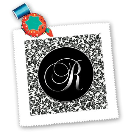Qs_38767_3 Doreen Erhardt Monogrammed Collection - Letter R - Black And White Damask - Quilt Squares - 8X8 Inch Quilt Square front-287767