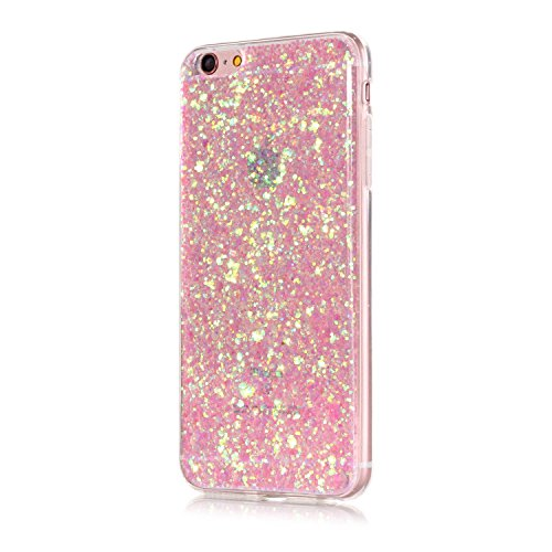 iPhone 7 Case,iPhone 7 TPU Case, iPhone 7 Transparent Cover,Cover for iPhone 7,Case for iPhone 7 with 4.7 inch Screen,Ultra Slim Soft TPU [Scratch-Resistant] [Perfect Fit] Cover,Cool 3D Pink Bling Glitter Diamond Design Transparent See Through Protective Case Cover for Apple iPhone 7 4.7
