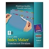 Index Maker Clear Label Punched Dividers, Multicolor 8-Tab, Letter, 5 Sets