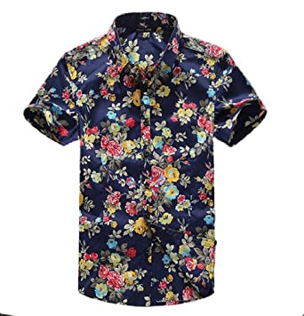 Wantdo Men Printed Short Sleeve Cotton Blend T-shirt 1526 by Wantdo Plus Men