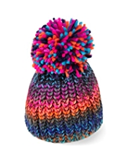 Space-Dye Design Knitted Bobble Hat
